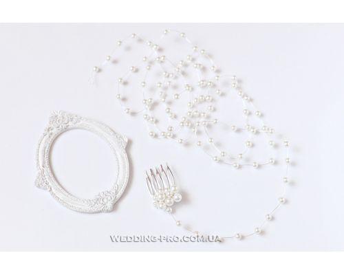 Свадебное украшение из проволоки и бусин с гребнем