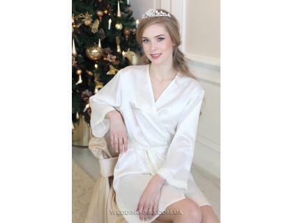"""Свадебный халат с надписью """"Bride"""" и кружевом на рукаве"""