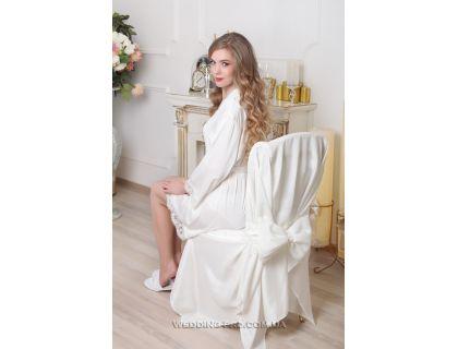 Набор УТРО НЕВЕСТЫ шёлковый халатик с надписью Bride и накидка на стул